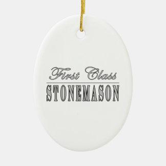 Stylish Stonemasons : First Class Stonemason Double-Sided Oval Ceramic Christmas Ornament