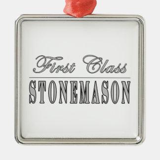 Stylish Stonemasons : First Class Stonemason Square Metal Christmas Ornament