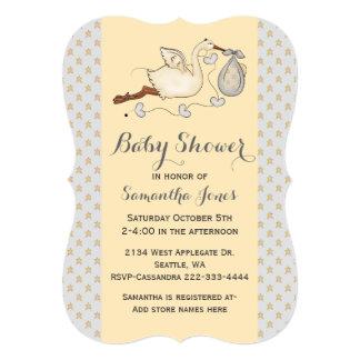 Stylish Stork Custom Baby Shower Invitation