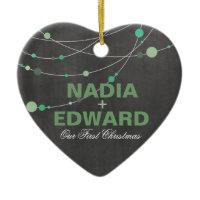 Stylish Strands | chalkboard mint Photo Christmas Tree Ornaments