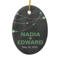 Stylish Strands chalkboard mint Photo Christmas Ornament
