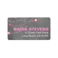 Stylish Strands | chalkboard pink Address Label