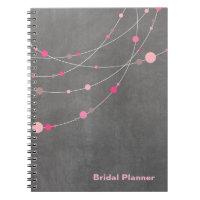 Stylish Strands chalkboard pink Bridal Planner Notebooks
