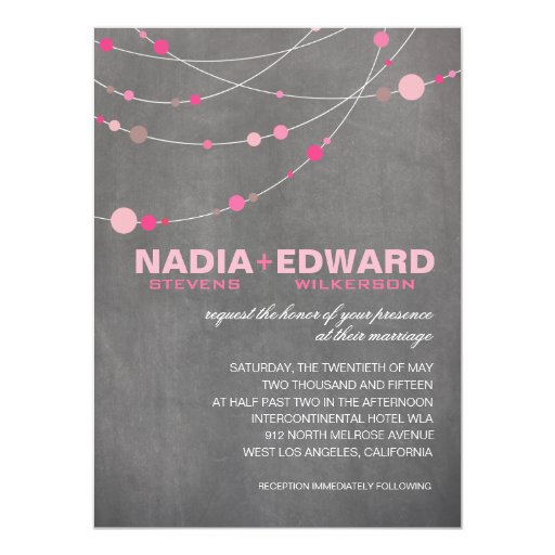 Stylish Strands | chalkboard pink 5.5x7.5 Paper Invitation Card
