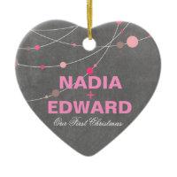 Stylish Strands | chalkboard pink Photo Christmas Ornaments