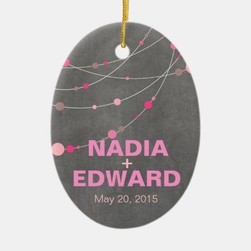Stylish Strands chalkboard pink Photo Double-Sided Oval Ceramic Christmas Ornament