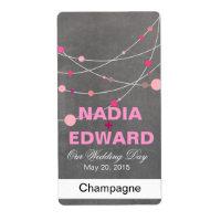 Stylish Strands chalkboard pink Wine Label