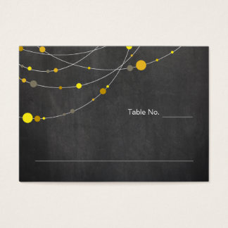 Stylish Strands | chalkboard yellow place card