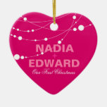 Stylish Strands | fuschia white Photo Double-Sided Heart Ceramic Christmas Ornament