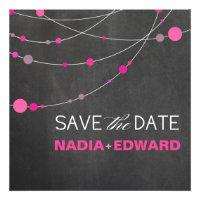 Stylish Strands Save the Date chalkboard fuschia Invitation