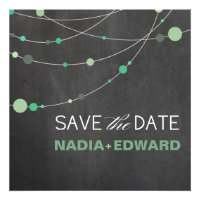 Stylish Strands Save the Date chalkboard mint Personalized Announcements