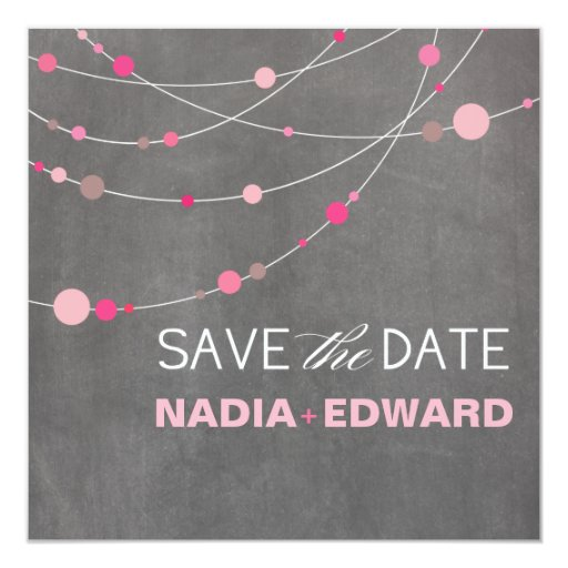 Stylish Strands Save the Date chalkboard pink Personalized Invite