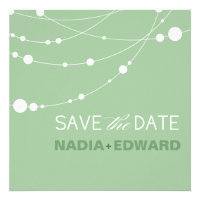 Stylish Strands Save the Date mint Personalized Invite