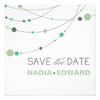Stylish Strands Save the Date white mint