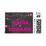 Stylish Strands Wedding chalkboard fuschia Postage Stamps