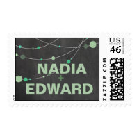 Stylish Strands Wedding chalkboard mint Postage Stamps