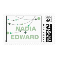 Stylish Strands Wedding white mint Postage Stamp