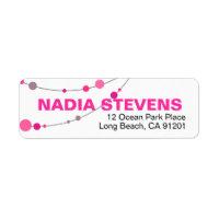 Stylish Strands   white fuschia Return Address Label