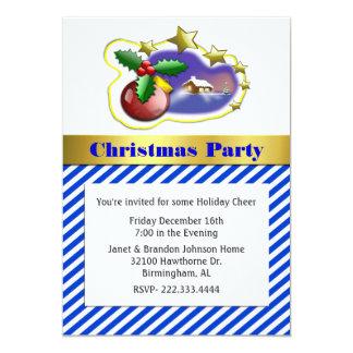 Stylish Striped Christmas Party Invitation