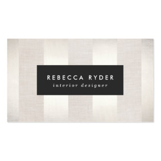 Stylish Striped Faux Silver and Linen Beige Business Card