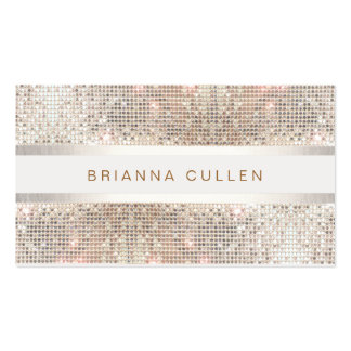 Stylish Striped Faux Silver Sequin Elegant Modern Business Card Template