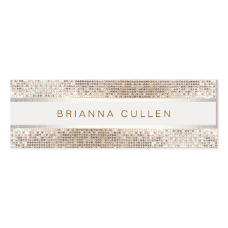 Stylish Striped FAUX Silver Sequin Elegant Modern Double-Sided Mini Business Cards (Pack Of 20)