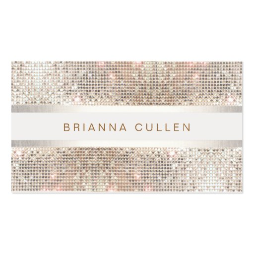 Stylish Striped Faux Silver Sequin Elegant Modern Double-sided Standard Business Cards (pack Of 100)