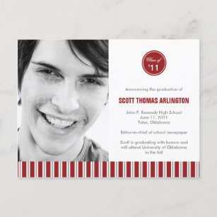 Graduation invitation postcards zazzle stylish stripes graduation announcementinvitation invitation postcard filmwisefo