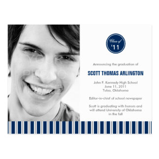 Stylish Stripes Graduation Announcement/Invitation Postcard