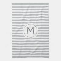 Stylish stripes gray modern monogrammed towel