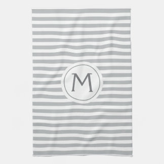 Stylish stripes gray modern monogrammed towel