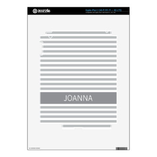 Stylish stripes gray modern personalized name iPad 3 skin