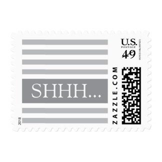 Stylish stripes gray modern shhh surprise party postage stamps