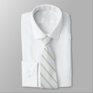 Stylish stripes in natural colors on pale blue neck tie