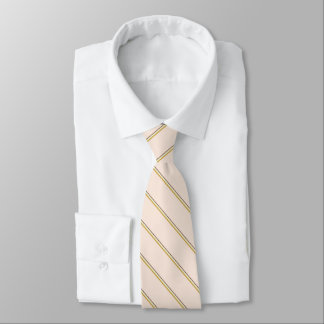 Stylish stripes in natural colors on pale pink neck tie