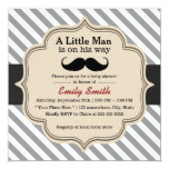 "Stylish Stripes Mustache Little Man Baby Shower 5.25"" Square Invitation Card"