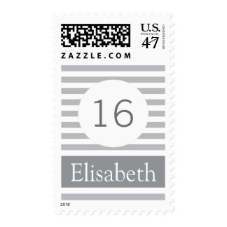 Stylish stripes personalized gray modern Sweet 16 Postage