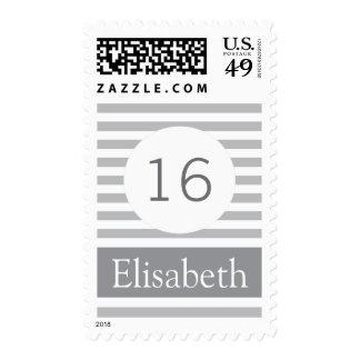 Stylish stripes personalized gray modern Sweet 16 Stamp