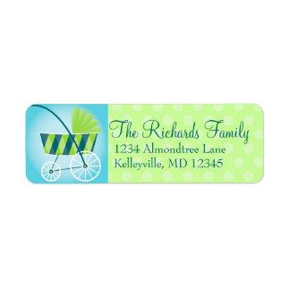Stylish Stroller Blue & Green Return Address Labels