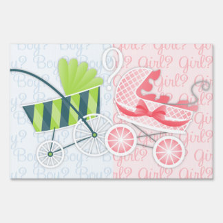 Stylish Strollers Gender Reveal Lawn Signs