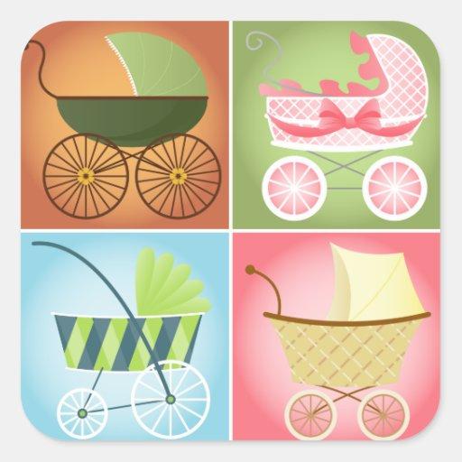 Stylish Strollers Square Sticker