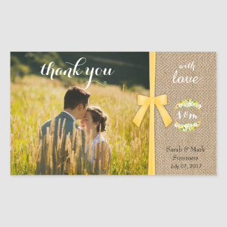Stylish Summer Wedding Thank You Rectangular Sticker