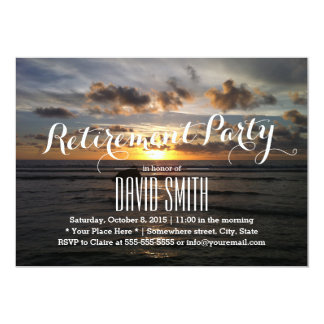 Stylish Sunset Beach Retirement Party 5x7 Paper Invitation Card