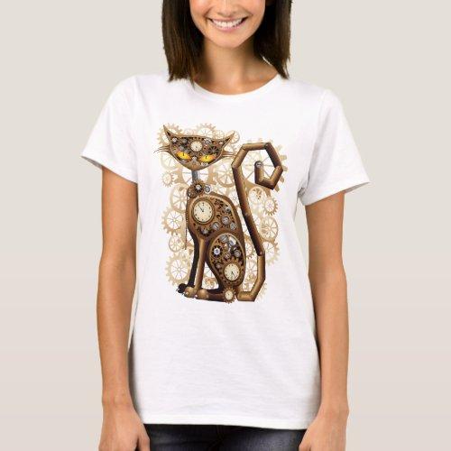 Stylish surreal Steampunk Cat T_Shirt