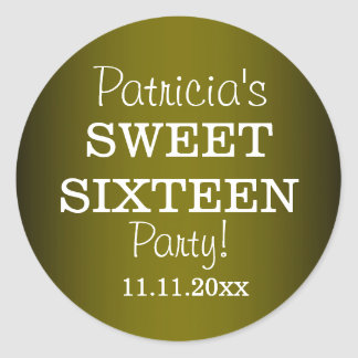 Stylish Sweet 16 Party Stickers : Metallic Green
