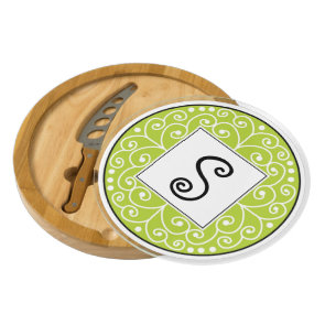 Stylish Swirl Apple Green Custom Monogram Cheese Board