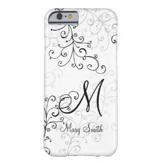 Stylish Swirl Custom Monogram Barely There iPhone 6 Case