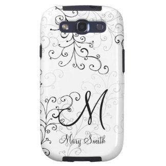 Stylish Swirl Custom Monogram Samsung Galaxy S3 Cases