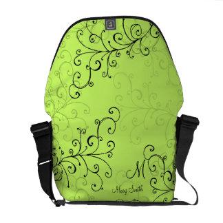 Stylish Swirl Custom Monogram Green Courier Bag