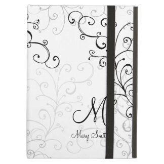 Stylish Swirl Custom Monogram iPad Air Cover